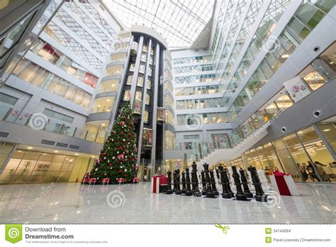 hall with a christmas tree and a large chess editorial stock image image 34744094