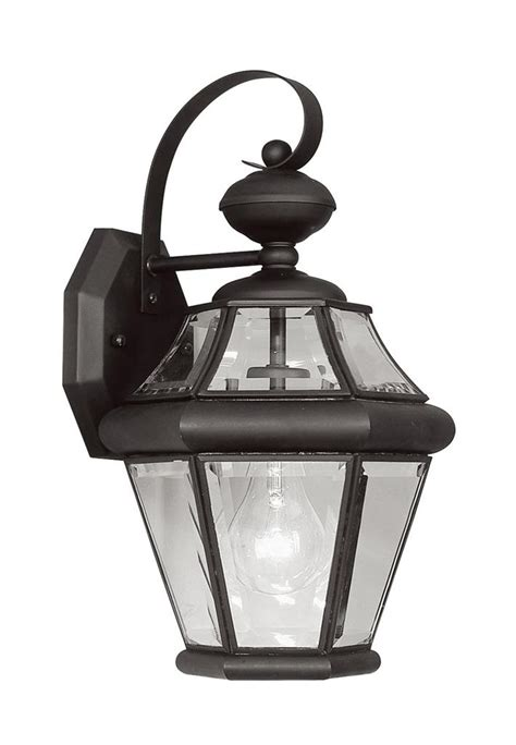 1 light black georgetown livex outdoor wall sconce