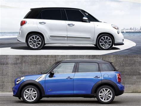 Mini Vs Fiat 500 by Comparo 2014 Fiat 500l Versus Mini Cooper Countryman