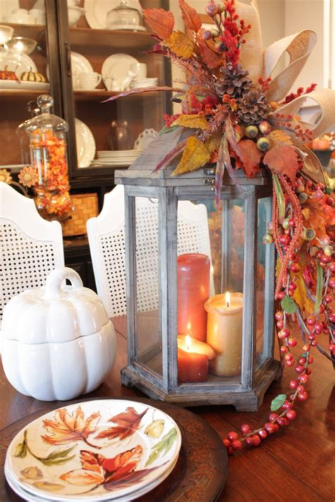 how to decorate a table for fall picture of fall lantern centerpiece
