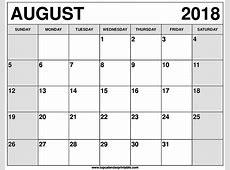Blank August 2018 Calendar Printable