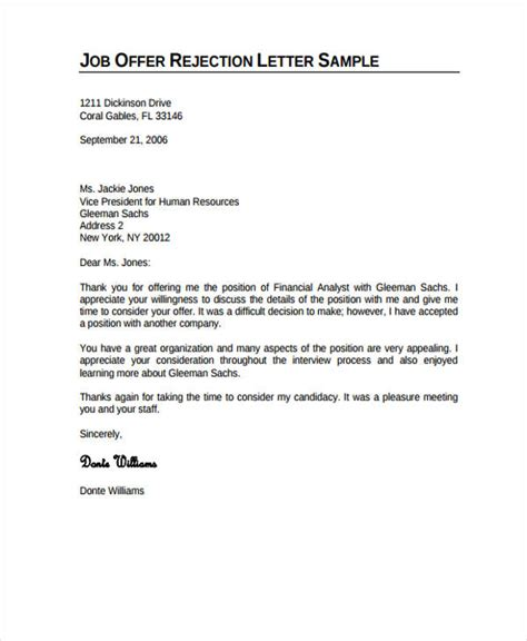 professional rejection letter 10 free word pdf format