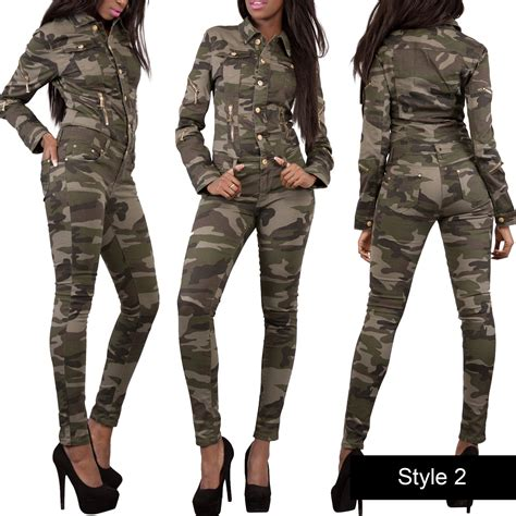 army jumpsuit womens camouflage army print jumpsuit denim catsuit