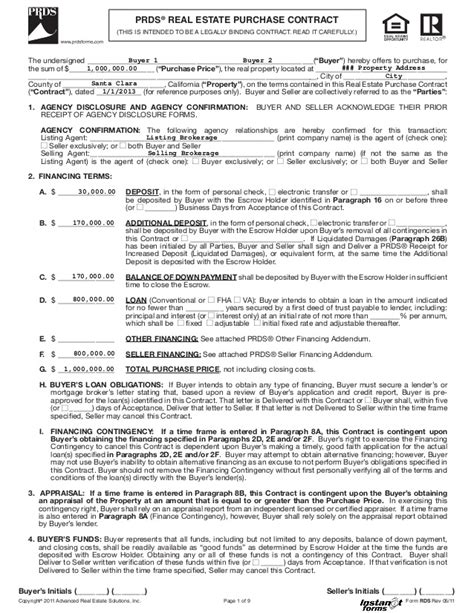 Real Estate Purchase Contract (rds) (rev 05 11