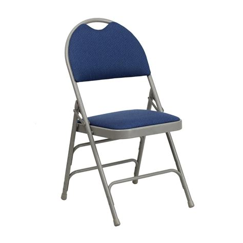 navy blue metal folding chair with 1 quot padded fabric seat