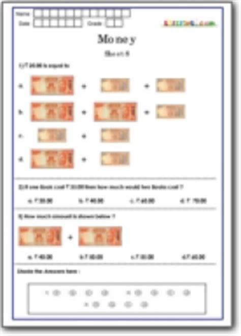 national talent exam worksheets  grade  maths money