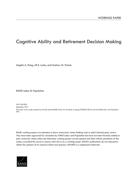 Cognitive Ability and Retirement Decision Making | RAND