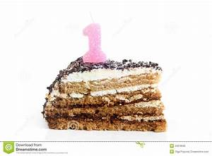 Slice Of Birthday Cake With Number One Candle Royalty Free ...
