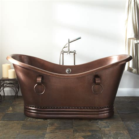 Copper Tub by Signature Hardware Sawyer Copper Slipper Pedestal