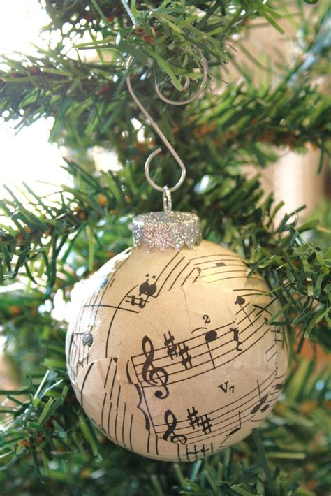 sheet music ball ornaments