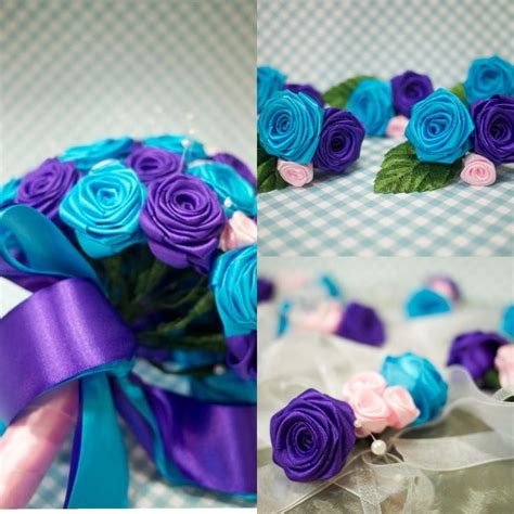 Stunning Purple And Turquoise Wedding Bouquet, Corsages