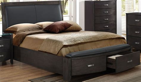 Lyric Grey Storage King Upholstered Panel Bed From