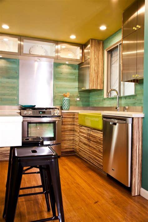 contemporary kitchen  reclaimed wood backsplash hgtv