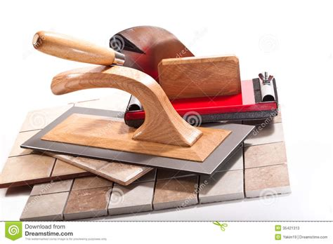 tools for working with ceramic tiles stock image image