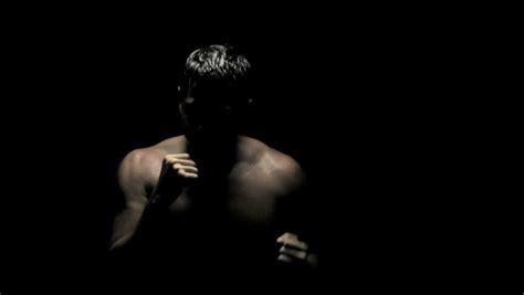 boxing   dark caucasian boxer spars  slow motion