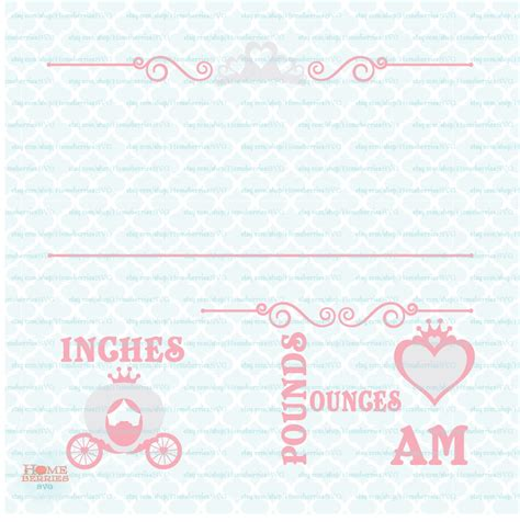 Simply install the linked free fonts and add your own info in the blank. Princess Birth Announcement Statistics Template svg Baby Stats