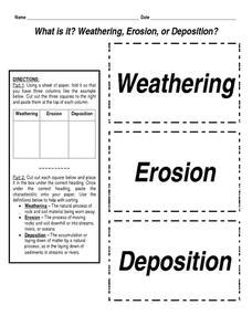 What Is It? Weathering, Erosion, Or Deposition? 4th  8th Grade Worksheet  Lesson Planet