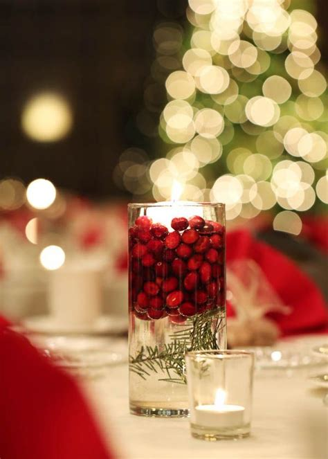 cranberry floating candle centerpieces   holiday