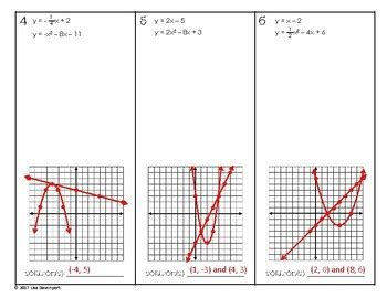 solving systems of linear quadratic equations by graphing practice worksheet