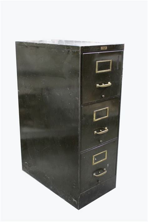 cabinet filing vintage 3 drawer vertical brass hardware