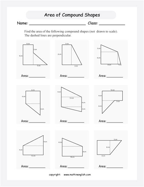 worksheets on area of composite shapes find the area of compound shapes with rectangular and