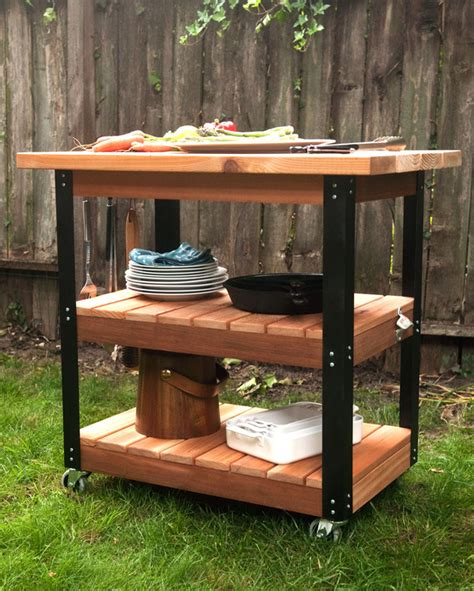 outdoor prep table plans how to make a diy rolling grill cart and bbq prep station