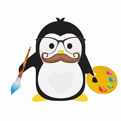 Penguins Technical Penguin Holding Paintbrush Designer Wearing
