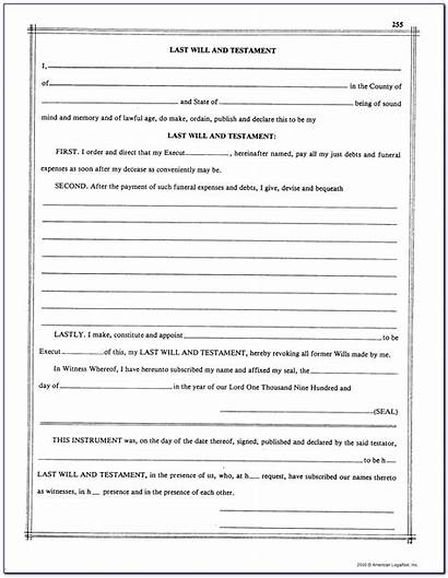 Testament Blank Printable Last Forms Form Template
