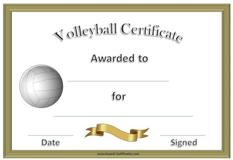 volleyball certificate template formal volleyball