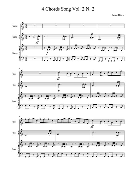 They let you play the most ukulele tunes. 4 Chords Song Vol.2 N.2 Sheet music for Piano   Download free in PDF or MIDI   Musescore.com