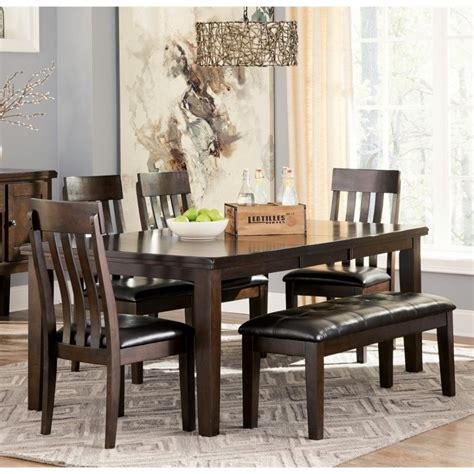 haddigan 6 dining set with bench in