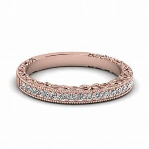 Milgrain Hand Engraved Diamond Wedding Band In 14K Rose