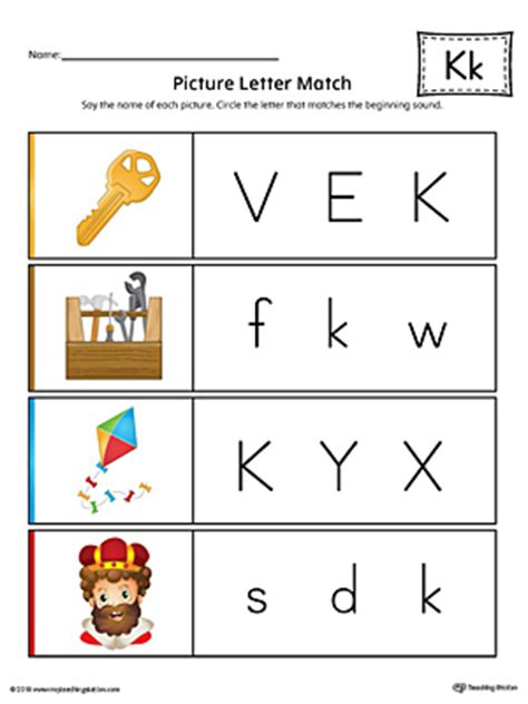 color beginning with k say and trace letter k beginning sound words worksheet