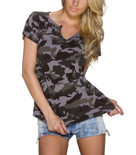 cooles damen camouflage muster t shirt poloshirt oberteil