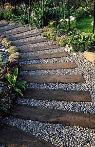 railway sleepers and gravel path