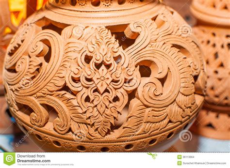 beautiful thai style designs  pottery stock images