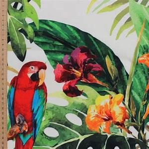 Tissu Imprimé Tropical : tissu d 39 ext rieur imprim perroquet et for t tropical ~ Teatrodelosmanantiales.com Idées de Décoration