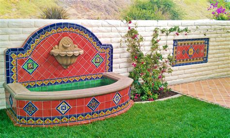 mexican fountains wall fountain using mexican tile design by kristiblackdesigns com back yard patio pinterest