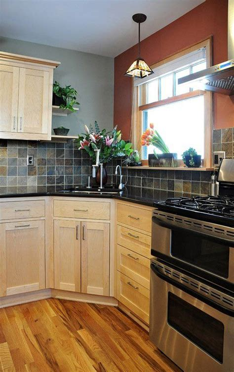 corner kitchen sink ideas  stone backsplashes