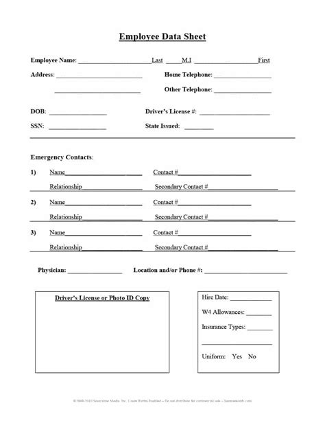 employee information form template 47 printable employee information forms personnel