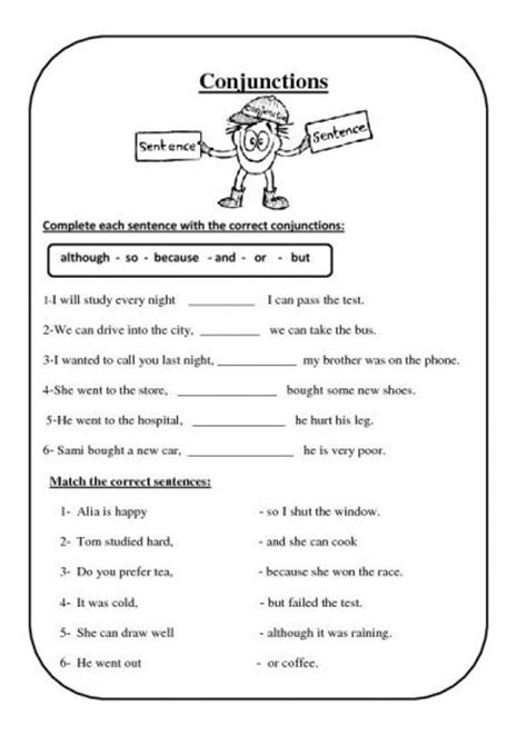 conjunction worksheets 16 best images of subordinating conjunctions with commas