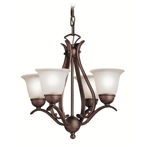 Mini Bronze Chandelier by Kichler Mini Chandelier With White Glass In Tannery Bronze