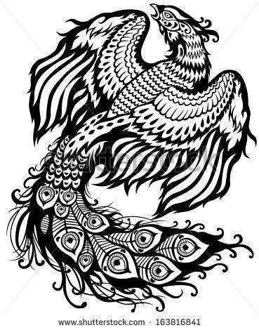 phoenix black and white illustration by insima, via