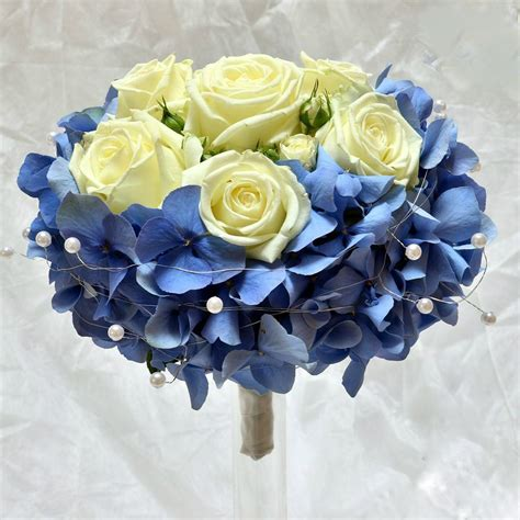 Wedding Bridal Bouquet With Blue Hydrangea And Cream Or