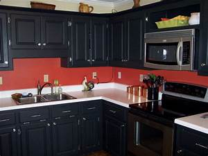 black cabinets red walls its definitely a maybe for my With kitchen cabinets lowes with wall art with red