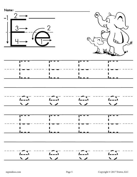 free printable letter e tracing worksheet supplyme