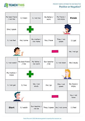 present simple affirmative negative esl activities games