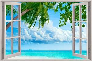 Large removable faux beach scene murals google search for Beautiful beach decals for walls