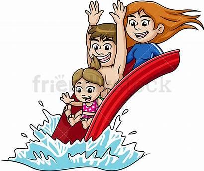 Water Park Vector Cartoon Clipart Happy Fun
