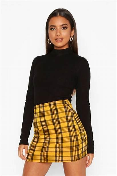 Skirt Mini Skirts Plaid Yellow Boohoo Outfits